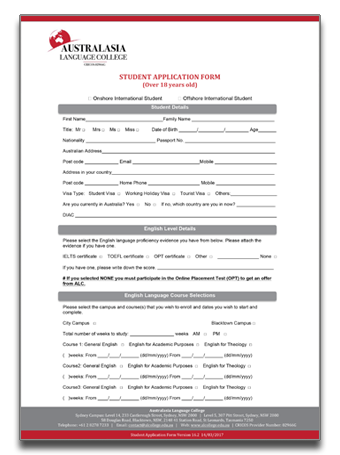 ALC application form